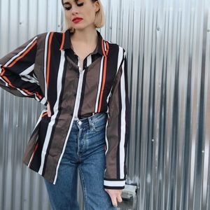 [Vintage] Unisex Vertical Striped Button Up Shirt